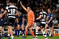 Referee Ben O'Keeffe during the 2018 Mitre 10 Cup Championship rugby semifinal between Canterbury and Counties Manukau at Forsyth Barr Stadium in Dunedin, New Zealand on Saturday, 20 October 2018. Photo: Joe Allison / lintottphoto.co.nz