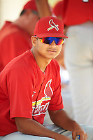 GCL Cardinals Alvaro Seijas (22) in the dugout during the first game of a doubleheader against the GCL Marlins on August 13, 2016 at Roger Dean Complex in Jupiter, Florida.  GCL Cardinals defeated GCL Marlins 4-2 in a continuation of a game originally started on August 8th.  (Mike Janes/Four Seam Images)