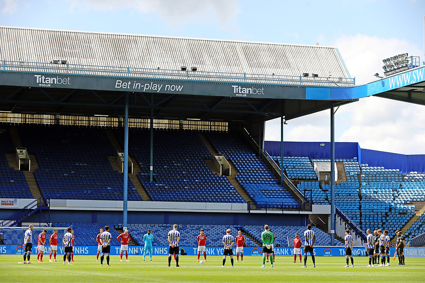 Players and match officials observe a minutes silence to remember those who've lost their lives during the Coronavirus pandemic and to thank the NHS <br /> <br /> Photographer Rich Linley/CameraSport<br /> <br /> The EFL Sky Bet Championship - Sheffield Wednesday v Nottingham Forest - Saturday 20th June 2020 - Hillsborough - Sheffield <br /> <br /> World Copyright © 2020 CameraSport. All rights reserved. 43 Linden Ave. Countesthorpe. Leicester. England. LE8 5PG - Tel: +44 (0) 116 277 4147 - admin@camerasport.com - www.camerasport.com