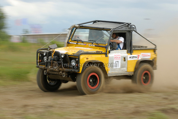 Land Rover Defender, racing at the Rallye Dresden Breslau 2007. --- No releases available. Automotive trademarks are the property of the trademark holder, authorization may be needed for some uses.