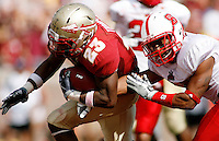 TALLAHASSEE, FL 10/31/09-FSU-NCST FB09 CH48-Florida State's Chris Thompson gets by N.C. State's Jarvis Byrd for a touchdown during second half action Saturday at Doak Campbell Stadium in Tallahassee. The Seminoles beat the Wolf Pack 45-42..COLIN HACKLEY PHOTO