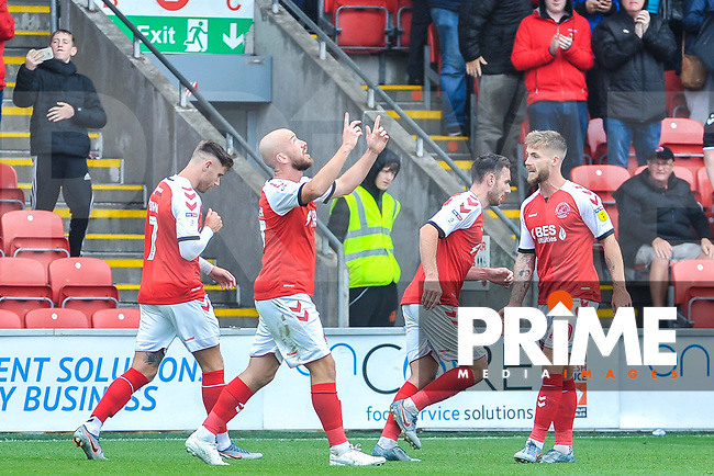 Fleetwood Town's forward Patrick Madden (17) looks to the heavens during the Sky Bet League 1 match between Fleetwood Town and AFC Wimbledon at Highbury Stadium, Fleetwood, England on 10 August 2019. Photo by Stephen Buckley / PRiME Media Images.