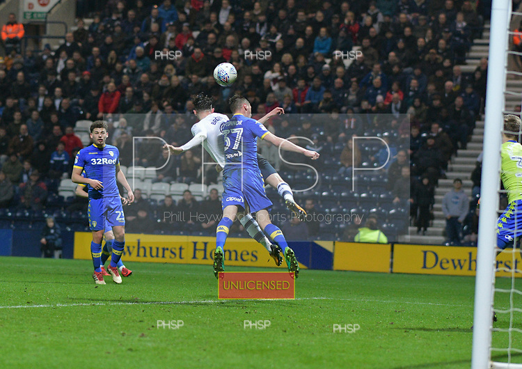 10/04/2018 Sky Bet League Championship Preston North End v Leeds United<br /> <br /> Alan Browne scores Preston North End's third goal with  looping header