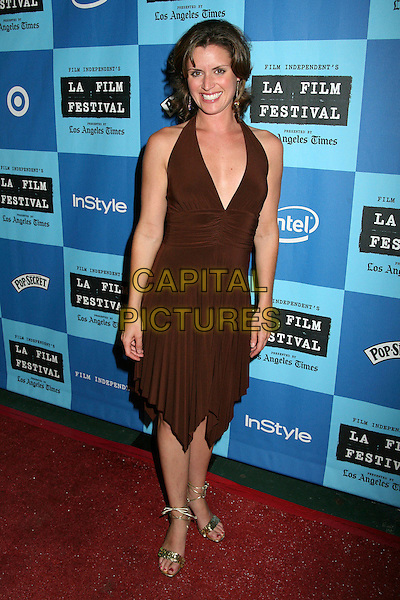 "JAMIE BULLOCK.2006 LA Film Festival Screening of ""The Beach Party at the Threshold of Hell"", Westwood, California, USA,.01 July 2006..full length brown halterneck dress low cut plunging neckline jaime.Ref: ADM/BP.www.capitalpictures.com.sales@capitalpictures.com.©Byron Purvis/AdMedia/Capital Pictures."