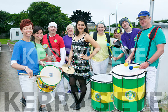 Aisling Sugrue, Philomena O'Dee, Ted Moynihan, Jelenavg Danovic,  Elaine Van Keulen, Maria McCarthy, Theresa Galvin, Franis Meehan and Nick O'Connor from  Samba Cuisle at the Ballyheigue Summer Festival Grand Parade on Sunday