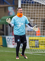Barry Richardson of Wycombe Wanderers warms up in the NHS Sign for Life shirt  during the Sky Bet League 2 match between Wycombe Wanderers and Bristol Rovers at Adams Park, High Wycombe, England on 27 February 2016. Photo by Andrew Rowland.