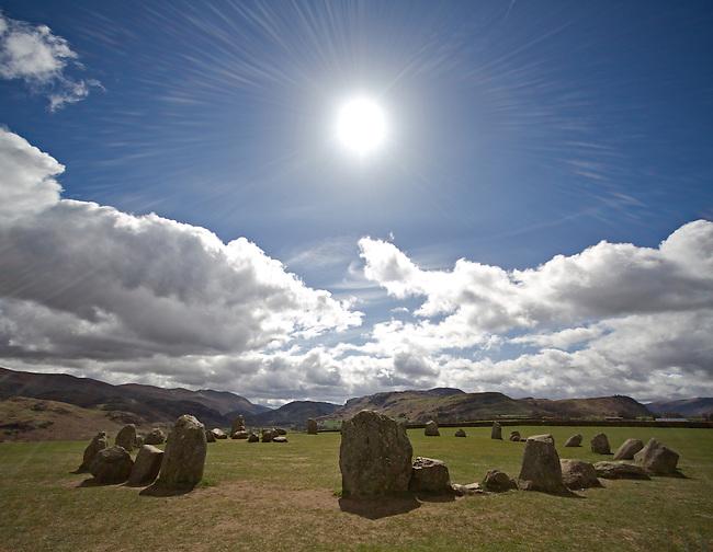 Sun Worship at Castlerigg Stone Circle, Lake District, Cumbria, UK