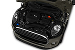Car stock 2019 Mini Cooper Hardtop 2 Door 3 Door Hatchback engine high angle detail view