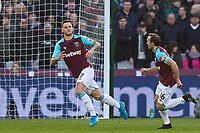 Marko Arnautovic of West Ham United turns to celebrate his winning goal during the Premier League match between West Ham United and Chelsea at the Olympic Park, London, England on 9 December 2017. Photo by Andy Rowland.