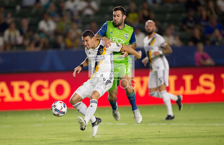 Carson, CA - Saturday July 29, 2017: Daniel Steres, Will Bruin during a Major League Soccer (MLS) game between the Los Angeles Galaxy and the Seattle Sounders FC at StubHub Center.