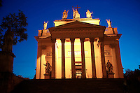 The neo classical Eger Basilica at night , Eger, Hungary