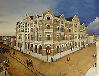The Driskill Hotel, painting of the building in the late 19th century, hung in the mezzanine of the hotel, built 1886 in Romanesque Revival style by cattle baron Jesse Driskill, on East 6th St or Dirty Sixth, in the Sixth Street Historic District in downtown Austin, Texas, USA. The area was Austin's commercial district in the late 19th century, and the buildings are mainly Victorian brick structures. It is now known for its lively bars, cafes, nightclubs and music venues. Picture by Manuel Cohen