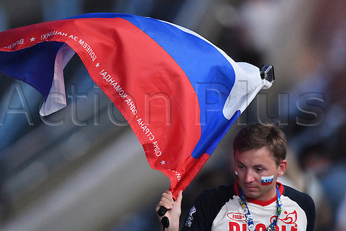 05.08.2016. Rio de Janeiro, Brazil.  A spectator waves a Russian flag during the opening ceremony of the Rio 2016 Olympic Games at the Maracana stadium in Rio de Janeiro, Brazil, 5th August 2016.