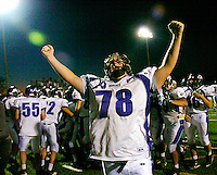 Battlefield senior Joe Breithaupt (78) celebrates after the Battlefield Bobcats overcame a 20 point deficit and defeated the Fauquier Falcons 23-20 in overtime Saturday 10-27-07 at Kip Hull Field in Bealeton, VA.