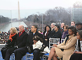 "Washington, DC - January 18, 2009 -- United States President-elect Barack Obama and his wife Michelle at the ""We Are One""  The Obama Inaugural Celebration at the Lincoln Memorial on Sunday, January 18, 2009.  From left to right in the front row: Jill Biden, Vice President-elect Joseph Biden, President-elect Obama, Sasha Obama, Michelle Obama, Malia Obama..Credit: Dennis Brack - Pool via CNP"