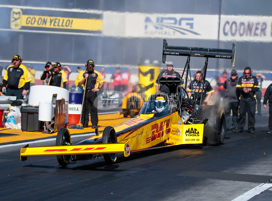Feb 8, 2019; Pomona, CA, USA; NHRA top fuel driver Richie Crampton during qualifying for the Winternationals at Auto Club Raceway at Pomona. Mandatory Credit: Mark J. Rebilas-USA TODAY Sports