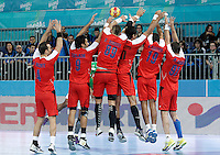 Egypt's Omar Elsweidy, Islam Hassan, Mohamed Mamdouh, Ali Zein, Mohamed Hesham and Mohamed Hisham blocking a shot during 23rd Men's Handball World Championship preliminary round match.January 15,2013. (ALTERPHOTOS/Acero) /NortePhoto