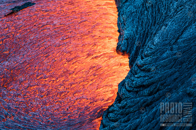 Lava Contrast: A contrast between molten and cooling lava on the coastal plains of Pulama Pali, Hawai'i Volcanoes National Park, Hawai'i Island, September 2017.