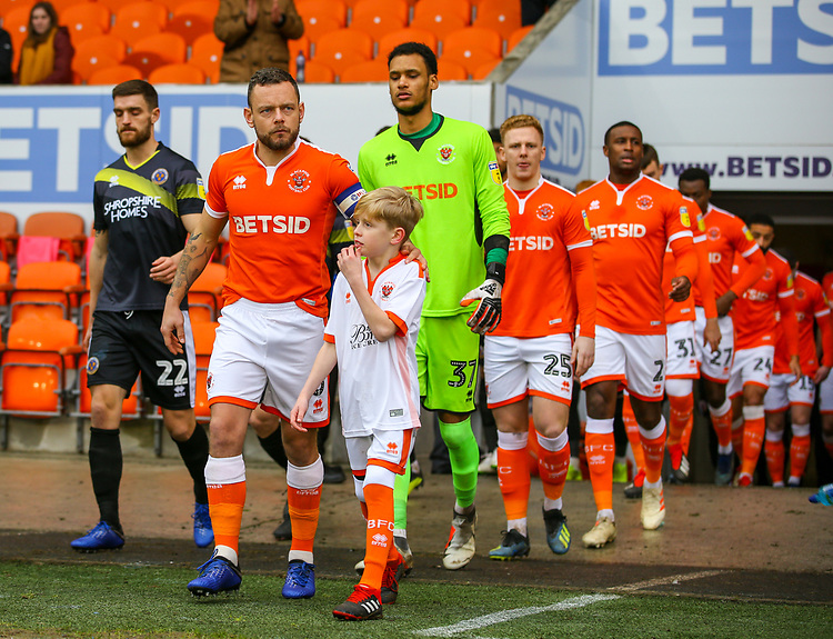 Blackpool's Jay Spearing leads his side out<br /> <br /> Photographer Alex Dodd/CameraSport<br /> <br /> The EFL Sky Bet League One - Blackpool v Shrewsbury Town - Saturday 19 January 2019 - Bloomfield Road - Blackpool<br /> <br /> World Copyright &copy; 2019 CameraSport. All rights reserved. 43 Linden Ave. Countesthorpe. Leicester. England. LE8 5PG - Tel: +44 (0) 116 277 4147 - admin@camerasport.com - www.camerasport.com