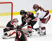 Leah Sulyma (NU - 1), Rachel Llanes (NU - 11), Kaitlin Spurling (Harvard - 17) - The Harvard University Crimson defeated the Northeastern University Huskies 1-0 to win the 2010 Beanpot on Tuesday, February 9, 2010, at the Bright Hockey Center in Cambridge, Massachusetts.