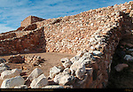 Firewall cooking area, Reconstructed Pueblo Walls, North Central Rooms and Citadel, Tuzigoot Sinagua Pueblo, Tuzigoot National Monument, Verde Valley, Arizona