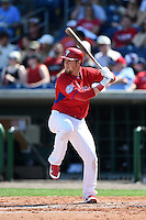 Philadelphia Phillies infielder Chris McGuiness (77) during an exhibition game against the University of Tampa on March 1, 2015 at Bright House Field in Clearwater, Florida.  University of Tampa defeated Philadelphia 6-2.  (Mike Janes/Four Seam Images)