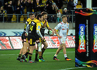 Beauden Barrett celebrates his try during the Super Rugby semifinal match between the Hurricanes and Chiefs at Westpac Stadium, Wellington, New Zealand on Saturday, 30 July 2016. Photo: Dave Lintott / lintottphoto.co.nz