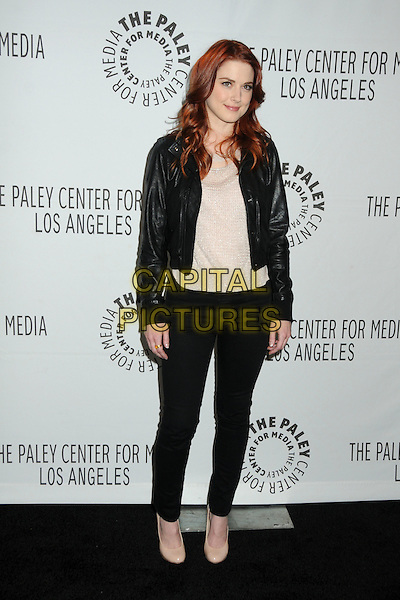 "Alexandra Breckenridge.PaleyFest 2012 Presents ""American Horror Story"" held at The Saban Theatre, Beverly Hills, California, USA, .2nd March 2012..full length jacket  beige nude top shoes jeans  black leather .CAP/ADM/BP.©Byron Purvis/AdMedia/Capital Pictures."