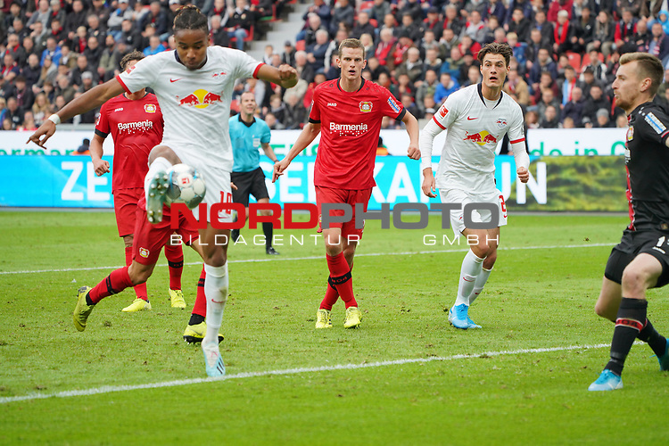 05.10.2019, BayArena, Leverkusen, GER, 1. FBL, Bayer 04 Leverkusen vs. RB Leipzig,<br />  <br /> DFL regulations prohibit any use of photographs as image sequences and/or quasi-video<br /> <br /> im Bild / picture shows: <br /> Christopher Nkunku (RB Leipzig #18),  macht das 1:1<br /> <br /> Foto © nordphoto / Meuter1