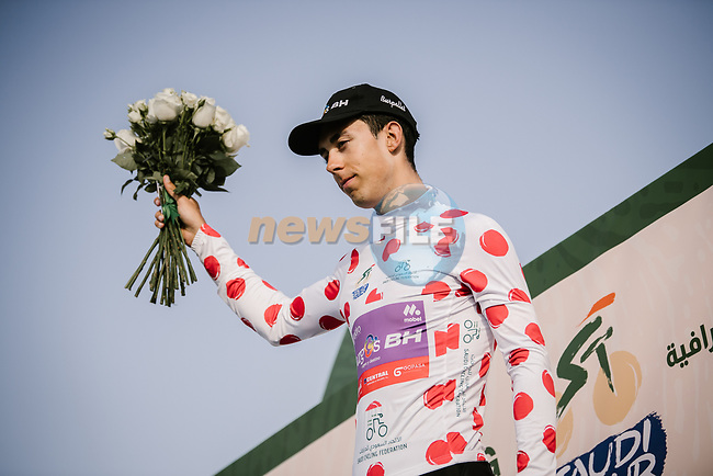 Angel Fuentes Paniego (ESP) Burgos-BH retains the Polka Dot Jersey at the end of Stage 3 of the Saudi Tour 2020 running 119km from King Saud University to Al Bujairi, Saudi Arabia. 6th February 2020. <br /> Picture: ASO/Pauline Ballet | Cyclefile<br /> All photos usage must carry mandatory copyright credit (© Cyclefile | ASO/Pauline Ballet)