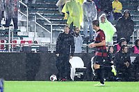 CARY, NC - DECEMBER 13: Head coach Jeremy Gunn of Stanford University gives instructions to a player during a game between Stanford and Georgetown at Sahlen's Stadium at WakeMed Soccer Park on December 13, 2019 in Cary, North Carolina.