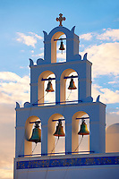 Oia, ( Ia )  Santorini - Bell tower of Byzantine Orthodax churches, - Greek Cyclades islands - Photos, pictures and images