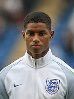 Marcus Rashford (Manchester United) of England during the International EURO U21 QUALIFYING - GROUP 9 match between England U21 and Norway U21 at the Weston Homes Community Stadium, Colchester, England on 6 September 2016. Photo by Andy Rowland / PRiME Media Images.