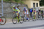 The lead riders including Pawel Poljanski (POL), Chris Anker Sorensen (DEN) Tinkoff-Saxo and Thibaut Pint (FRA) FDJ tackle the final climb of Superga near the finish of the 2015 96th Milan-Turin 186km race starting at San Giuliano Milanese, Italy. 1st October 2015.<br /> Picture: Eoin Clarke | Newsfile