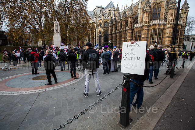 London, 23/11/2016. Today - five months after the EU Referendum of the 23rd of June 2016, &quot;The Political Movement UK&quot; and other pro-brexit organizations held a demonstration in Old Palace Yard, outside the Houses of Parliament, to call the British Conservative Government, lead by Theresa May, to invoke the Article 50 which will quickly activate the exit of Great Britain from the EU, also known as Brexit. From the organisers Facebook page: &lt;&lt;June 23rd we made history. 5 months on and its time for all Brexiteers to come together once more and stand up for our democracy. November 23rd we will have the Autumn Statement. It is one of the busiest day's in Westminster with every MP across the nation in attendance. The world's media will be covering the event giving the 52% maximum exposure to make their voices heard.[&hellip;] An official protest March is also being planned for the 4th Dec (official confirmation will come from leave.eu) to target the Supreme Court's decision. Please try to support both events so we can send a strong message to the 'establishment' that 17.5m will not be silenced&gt;&gt;.<br />
