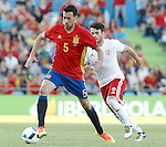 Spain's Sergio Busquets (l) and Georgia's Alexandre Amisulashvili during international friendly match. June 7,2016.(ALTERPHOTOS/Acero)