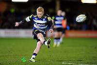 Tom Homer of Bath Rugby kicks for the posts. Aviva Premiership match, between Bath Rugby and Newcastle Falcons on March 18, 2016 at the Recreation Ground in Bath, England. Photo by: Patrick Khachfe / Onside Images