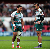 Manu Tuilagi and Peter Betham of Leicester Tigers have a word during a break in play. European Rugby Champions Cup semi final, between Leicester Tigers and Racing 92 on April 24, 2016 at The City Ground in Nottingham, England. Photo by: Patrick Khachfe / JMP