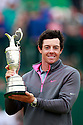 Rory McILROY (IRE) poses with the trophy during the presentation ceremony of the 143rd Open Championship played at Royal Liverpool Golf Club, Hoylake, Wirral, England. 17 - 20 July 2014 (Picture Credit / Phil Inglis)