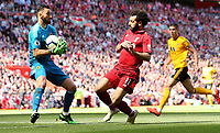 Wolverhampton Wanderers' Rui Patricio delivers under pressure from Liverpool's Mohamed Salah<br /> <br /> Photographer Rich Linley/CameraSport<br /> <br /> The Premier League - Liverpool v Wolverhampton Wanderers - Sunday 12th May 2019 - Anfield - Liverpool<br /> <br /> World Copyright © 2019 CameraSport. All rights reserved. 43 Linden Ave. Countesthorpe. Leicester. England. LE8 5PG - Tel: +44 (0) 116 277 4147 - admin@camerasport.com - www.camerasport.com