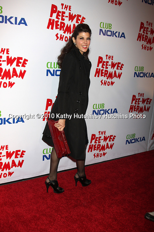"Maria Tomei.arriving at the ""The Pee Wee Herman Show"" Opening Night..Club Nokia.Los Angeles, CA.January 20, 2010.©2010 Kathy Hutchins / Hutchins Photo...."