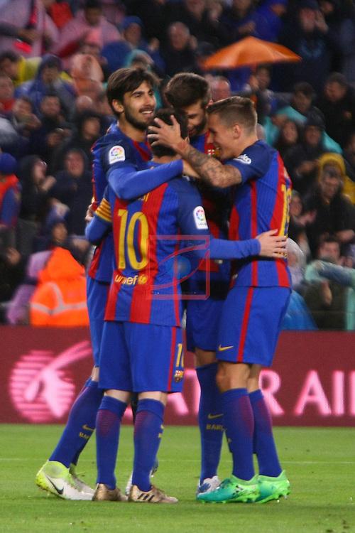 League Santander 2016/2017. Game: 34.<br /> FC Barcelona vs CA Osasuna: 7-1.<br /> Andre Gomes, Lionel Messi, Gerard Pique &amp; Lucas Digne.