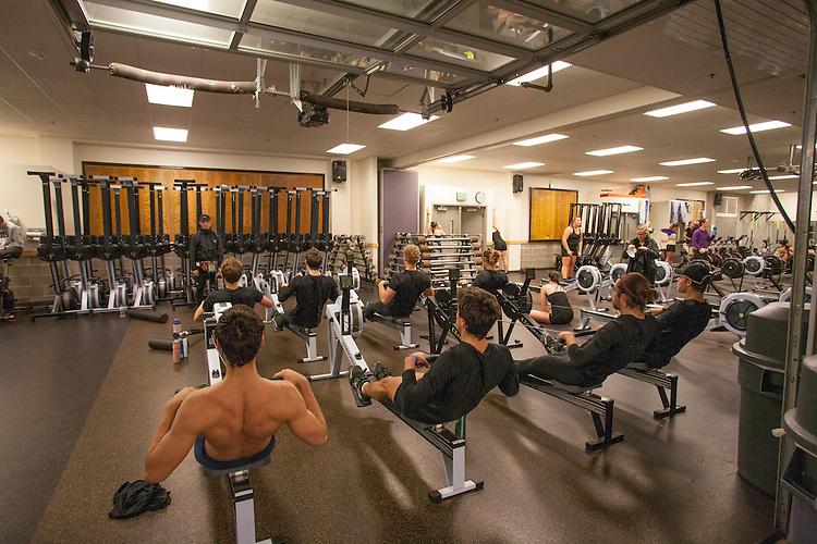 Rowing, Seattle, Conibear Shellhouse, Husky crew, erg workout, Head of the Lake Regatta, November 5 2016, University of Washington, Pacific Northwest, Washington State, USA,