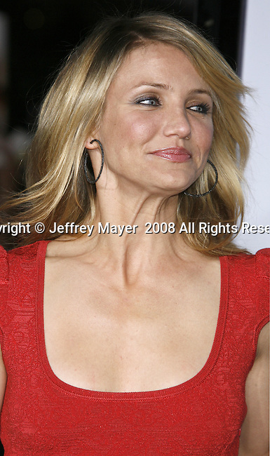 """Actress Cameron Diaz arrives at the Premiere Of Fox's """"What Happens In Vegas"""" on May 1, 2008 at the Mann Village Theatre in Los Angeles, California."""