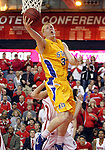 VERMILLION, SD - FEBRUARY 9: Tony Fiegen #34 from South Dakota State lays the ball up against the University of South Dakota in the first half of their game Thursday night at the DaktaDome in Vermillion, SD. (Photo by Dave Eggen/Inertia)
