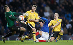Francisco Sandaza almost scores but Montrose manage to scramble away his shot as keeper John Gibson arrives