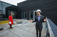 NWA Democrat-Gazette/BEN GOFF @NWABENGOFF<br /> Martin Miller (right), executive director of TheatreSquared, and Joanna Bell, director of marketing, lead a tour Friday, March 1, 2019, of the new TheatreSquared building under construction in downtown Fayetteville.