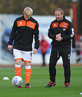 Blackpool's Mark Cullen and First-Team Coach Ian Dawes during the pre-match warm-up <br /> <br /> Photographer Kevin Barnes/CameraSport<br /> <br /> Emirates FA Cup First Round - Exeter City v Blackpool - Saturday 10th November 2018 - St James Park - Exeter<br />  <br /> World Copyright &copy; 2018 CameraSport. All rights reserved. 43 Linden Ave. Countesthorpe. Leicester. England. LE8 5PG - Tel: +44 (0) 116 277 4147 - admin@camerasport.com - www.camerasport.com
