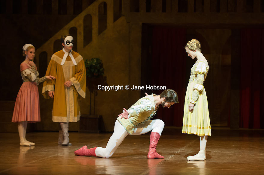 London, UK. 22.11.2013. Stuttgart Ballet present THE TAMING OF THE SHREW at Sadler's Wells. Picture shows: Elisa Badenes (Bianca), David Moore (Lucentio), Alexander Moore (Petruchio) and (Alicia Amatriain (Katherina).  Photograph © Jane Hobson.