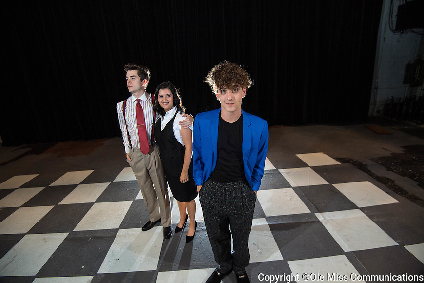 "Theatre majors Cory Clark, right, Katie Gonzalez and Gavin Harriman pose for publicity photos of their upcoming play ""The Wedding Singer"" running Nov 11-13.   Photo by Kevin Bain/Ole Miss Communications"